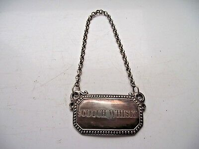 Antique Silver Plated Scotch Whisky Decanter Label On Chain See Pictures