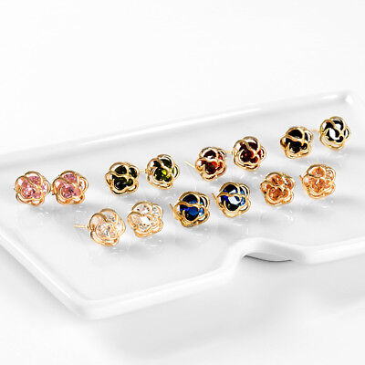 18K Gold Filled Rose Flower Colorful Cubic Zirconia Stud Earrings Jewelry Gift