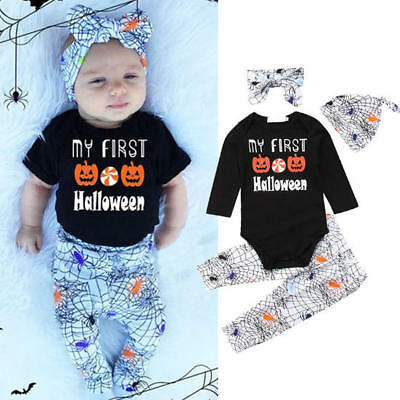 My First Halloween Baby Girl Top Romper+ Pants+Headband+Hat 4pcs Outfits Set UK