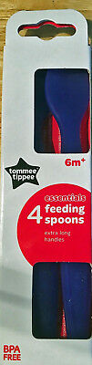 Tommee Tippee - Essential Basics Feeding Spoons 4 Pack Baby Toddler Spoon Blue