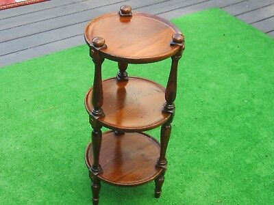 """Vintage Ethan Allen Old Tavern Pine Wood 28"""" 3 Tier Plant Table/Stand"""