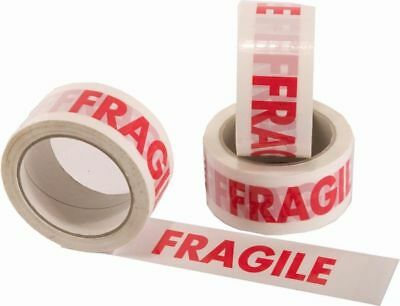 6 ROLLS FRAGILE PRINTED PACKAGING PARCEL TAPE 48mm x 66m 50mm