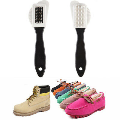 1PC 3 Side Cleaning Brush For Suede Nubuck Boot Shoes S Shape Shoe Cleaner