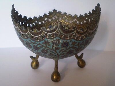 Stunning Antique Cloisonne Enamel Egg Shaped Footed Bowl...very Rare..