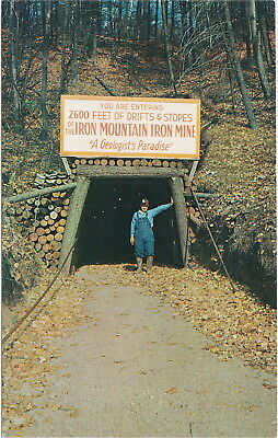 UP Iron Mountain MI 1960s VULCAN MINE ENTRANCE Iron Miners Working for Tourists