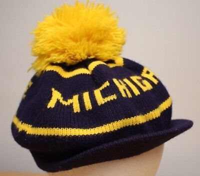 Vintage Knit Cap University of Michigan GO BLUE U of M Knit Cap with Brim & Pom