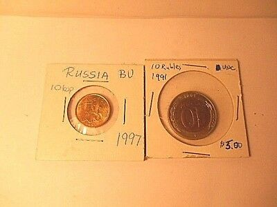 Lot Of 2 Russia Un-Circulated Coins 1991 10 Rubles, 1997 10 Kopek