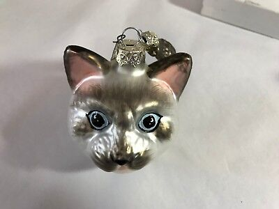 Kitty Cat & small Fish Glass Poland Christmas Ornament silvery gray pink ears
