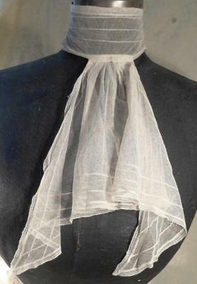 Vintage Victorian Net Lace Jabot Attached To A High Neck Collar
