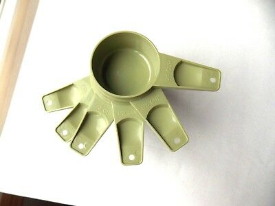 Vtg Avocado Sage Green Tupperware Measuring Cups Full Set  Made in U.S.A.