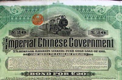 Imperial Chinese Government Hukuang railways gold loan 1911 + coupons 中国 china