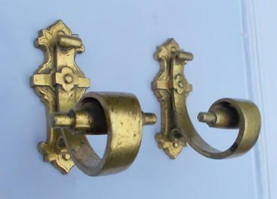 Pair of Antique French Gothic Design Brass / Bronze Wall / Coat Hooks
