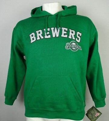 $60 Milwaukee Brewers MLB Men's Pullover Green Hoodie Stitches S M L XL XXL