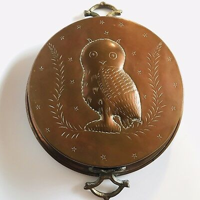 """Vintage Copper Mold Rare OWL Large Forged Brass Handles Rich Aged Patina 12"""""""