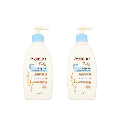 Aveeno Baby Daily Care Hair & Body Wash 300ml x 2 Pack - Gently Cleanses Baby