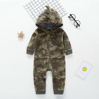 Newborn Infant Baby Soft Camouflage Hooded Romper Jumpsuit Outfit Warm Bodysuit