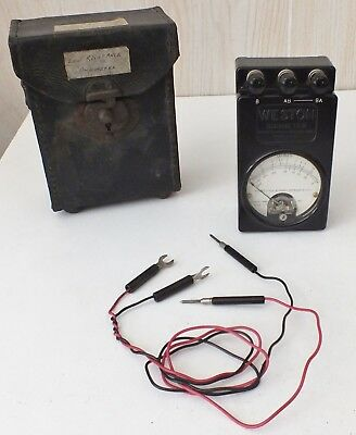 Weston Electrical Instrument Model 689 Ohmmeter Type 1F, Leather Case, Working