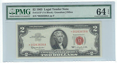 1963 $2 United States Legal Tender Red Seal Note, Fr1513*, Pmg Choice Unc 64 Epq