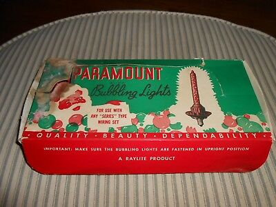 Box of 9 Vintage Paramount Bubbling Bubble Christmas Tree Lights NEW!