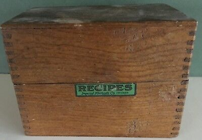 Vtg Imperial Methods Co Chicago wood recipe box dovetailed corners 3 x 5 x 4