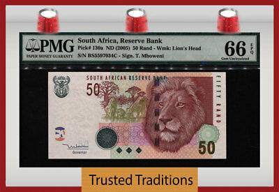 "TT PK 130a ND (2005) SOUTH AFRICA 50 RAND ""MAJESTIC LION"" PMG 66 EPQ GEM UNC!"