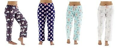Ladies Girls Fleece Animal Unicorn Owl Deer Fox Lounge Bottoms Pyjamas Size 8-18