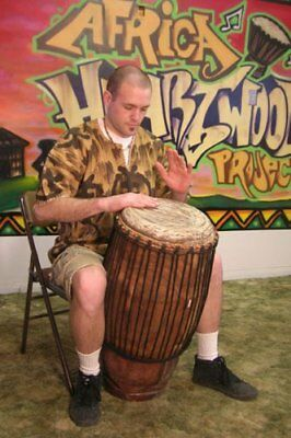 Hand-carved African Solid Wood Conga Drum - 12x30 - Huge Bass and Deep Tones!
