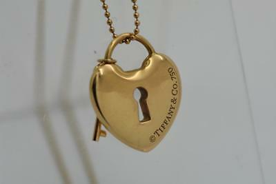 Authentic Tiffany Co 18k Yellow Gold Heart Lock Key Necklace 17in 71565 500 00 Picclick