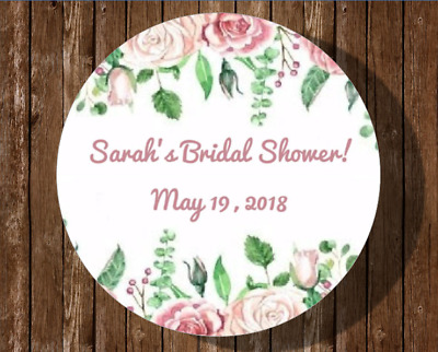 12 Personalized Bridal Shower Stickers Favors Labels Wedding Flowers Roses Tags