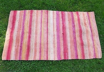 LARGE Vintage Red Woven Rag Rug 36x64