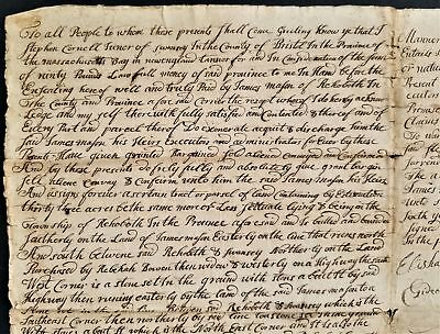 1753 antique COLONIAL DEED rehoboth ma Stephen CORNELL swansey James MASON
