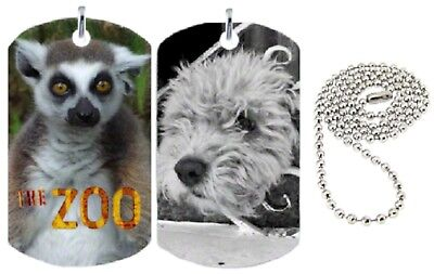 Personalized Custom Double Sided Color Photo Dog Tag Necklace w/2 Different Pics