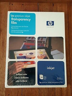 "HP Premium Inkjet Transparency Film NEW 50 Sheets 8.5""x11"" NEW C3834A"