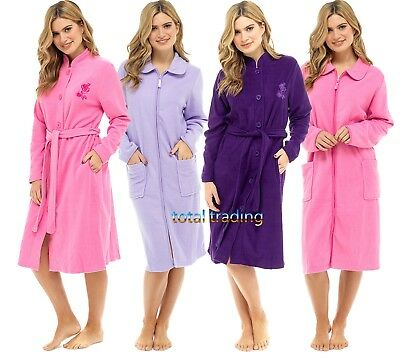 WOMENS Ladies  Robes Dressing Gown  traditional HOUSECOAT zip or button OPTION