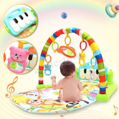 4 IN 1 Baby Fitness Kick Play Musical Piano Gym Play Baby Activity Exercise Mat