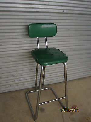 Mid Century Chair Stool 1950s Unusual Green Vinal Cover