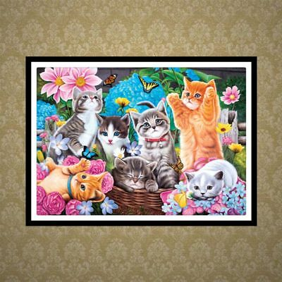 DIY Full 5D Diamond Painting Cute Cats Embroidery Cross Stitch Kit Home Decor