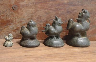 A Set Of 4 Antique Bronze Opium Weight, Lion