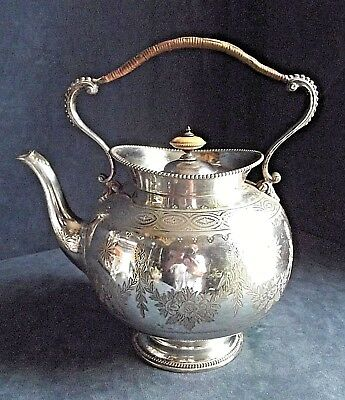GOOD Large ~ SILVER Plated ~ Ornate ENGRAVED ~ TEA KETTLE ~ c1890