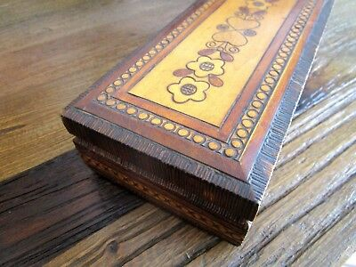 Vintage Wooden Antique Decorated Carved Box - Jewellery Box - European