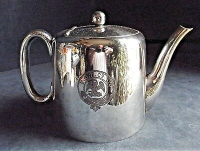 GOOD Large ~ SILVER Plated ~ ART DECO ~ CRESTED TEAPOT ~ c1935 by Walker & Hall