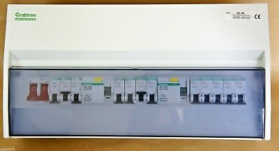 Crabtree 12 Way Consumer Unit Loaded 2 x Split-Load RCCB 12 x Type B MCB (6269)