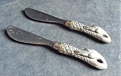 SUPERB Pair ~ SILVER Plated ~ DUCK Handles ~ PATE Knives
