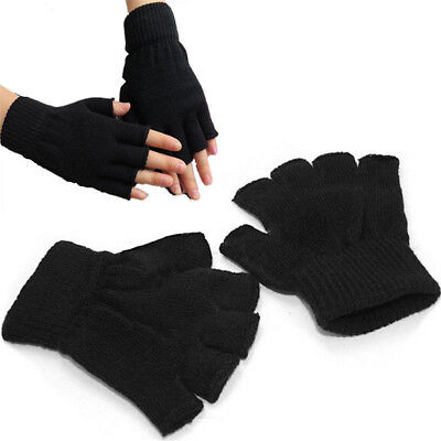 QUALITY WINTER Warm unisex BLACK ONESIZE KNITTED STRETCH FINGERLESS GLOVES