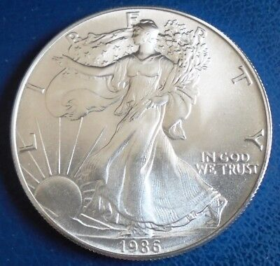 USA 1986 One Dollar Eagle, 1 troy ounce of pure silver + capsule - top grade