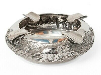 Vintage Burmese/Thai Sterling Silver Repousse Ashtray with Tropical Elephant