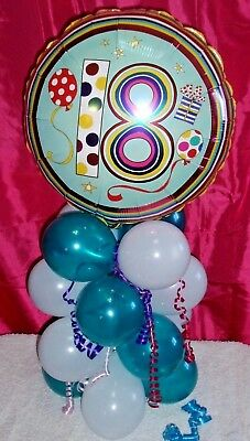 FOIL BALLOON TABLE DECORATION DISPLAY AGE 18 18th BIRTHDAY TEAL WHITE