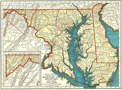 1940 Vintage MARYLAND and DELAWARE Map State Map of Maryland and Delaware 5786
