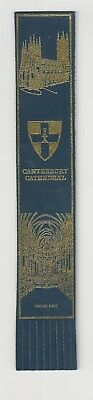 Canterbury Cathedral. Blue Leather English Bookmark.