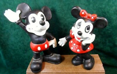 Vintage Disney Cast Iron Mickey and Minnie Mouse Pie Eye Bank Set CUTE!